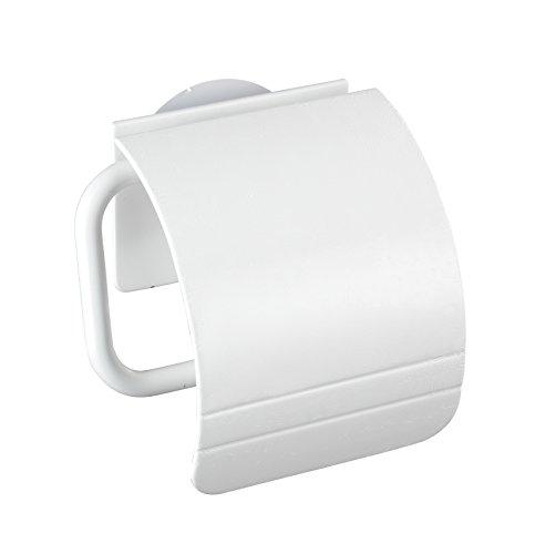 WENKO 22267100 Static-Loc Toilettenpapierhalter Osimo Weiß, Befestigen ohne bohren, Polypropylen, 15 x 14 x 5 cm, Weiß