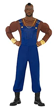 Smiffy's Mr T Costume Includes Muscle Top, Chains, Dungarees and Latex Head Piece - Blue, Medium