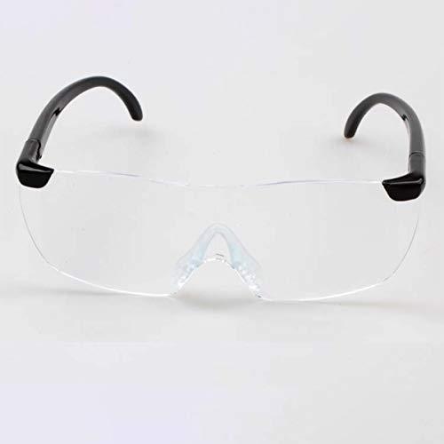 WEIWEITOE Big Vision 1.6X Lupe Lesebrille Flammenlos Leichte Brillen Lupe 250 Grad Vision Objektiv für ältere Menschen, transparente Linse & schwarzes Bein,
