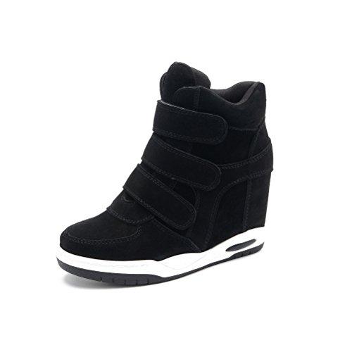 Suede Klettverschluss Hi-Top Sneaker Hohe Damen Sneaker Keilabsatz Schwarz01