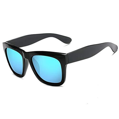 Easy Go Shopping Retro Persönlichkeit quadratischen Rahmen Mode Männer Frauen Sonnenbrillen polarisierte Sonnenbrille Sonnenbrillen und Flacher Spiegel (Color : Blau, Size : Kostenlos)