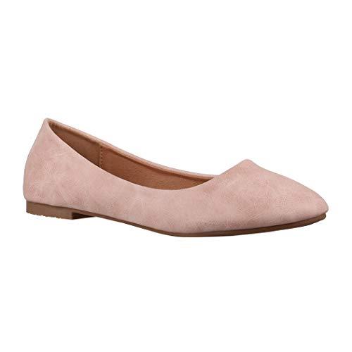 Elara Damen Ballerina Bequeme Slip-Ons Flach chunkyrayan YL96098 Pink-38