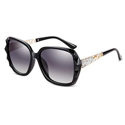 FURUDONGHAI UV400 Sonnenbrille Distaff Polygon Maverick Border Sonnenbrille Hohlspiegel Beine Fashion Brille besonders geeignet für sommerreisen oder Outdoor s (Farbe : Black)
