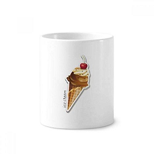 okoladen-Kuchen und Eiscreme-Kegel-Keramik-Zahnbürste Stifthalter Tasse Weiß Cup 350ml Geschenk 9.6cm x 8.2cm hoch Durchmesser ()