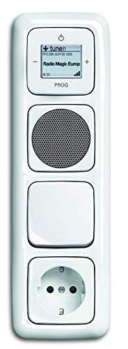 Busch Jäger Unterputz UP WLAN iNet Internetradio 8216 U (8216U) alpinweiß Reflex SI Lautsprecher + Steckdose mit Kinderschutz + Wippschalter 2000/6 US + Radio + 4fach Rahmen