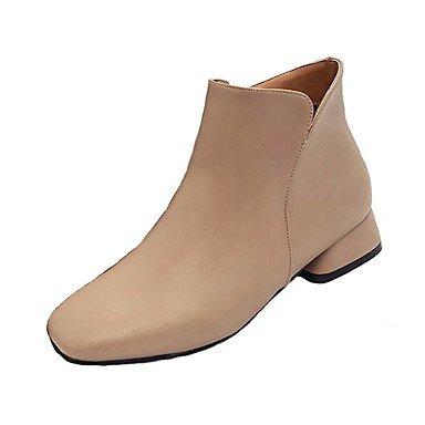 Rtry Femmes Chaussures Pu Automne Bottes De Combat Bottes Basses Talon Bas Bout Rond Zipper Pour Casual Kaki Noir Us8.5 / Eu39 / Uk6.5 / Cn40