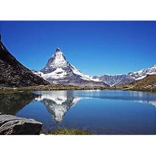 adrium Leinwand-Bild 80 x 60 cm: Ein Bergsee und Sein Mythos - Matterhorn, Bild auf Leinwand
