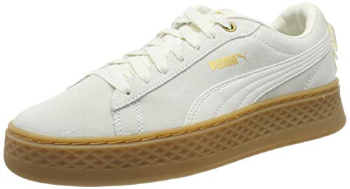 Puma Damen Smash Platform Frill Sneaker, Weiß (Whisper White-Puma Team Gold), 40 EU (6.5 UK)