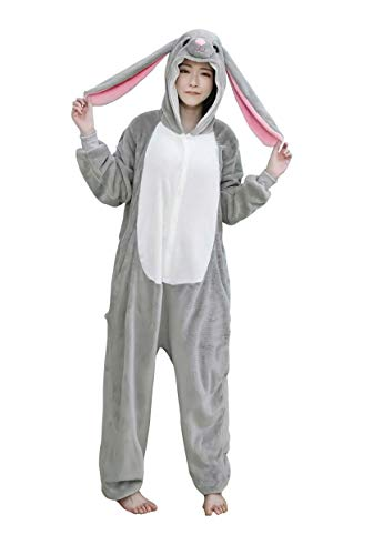 URVIP Neu Unisex Adult Pyjama Cosplay Tier Onesie Body Nachtwäsche Kleid Overall Animal Sleepwear Schlafanzug mit Kapuze Erwachsene Cosplay Kostüm Grau-Häschen L (Primark Kostüm Für Erwachsene)
