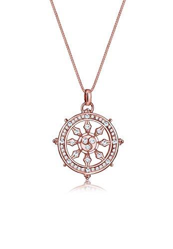 Elli Premium Damen-Kette mit Anhänger Steuerrad Ornament 925 Silber Swarovski Kristalle weiß Brillantschliff 45 cm - 0103451417_45