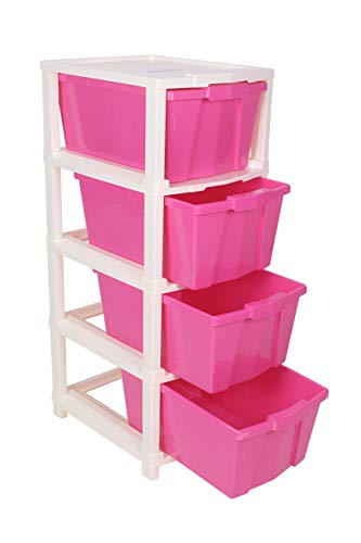 Joyful Studio 4 XL Plastic Modular Drawer System, Pink Colour by DFO (31cmx39cmx80.9 cm as per Lable from Manufacturer)