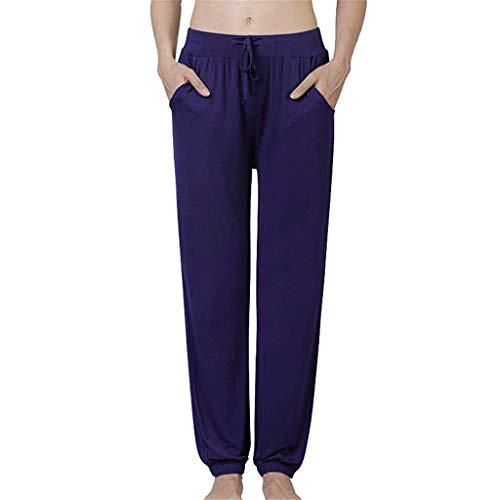 Crazboy Pyjama-Hose für Damen Baumwolle Stretch Knit Lounge Pants Bottoms(X-Large,Marine)