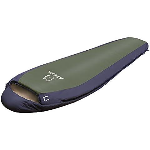ATEPA compacto 1000 Ultralight 1.1 Kg momia 3 temporada saco de dormir para Camping, senderismo, mochila y viajar a derecha e izquierda puede ser unido juntos (Verde