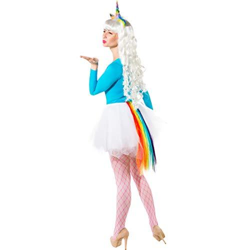 NET TOYS Einhorn Kostüm-Set bestehend aus Haarreif & Schweif | Bunt | Angesagtes Damen-Kostüm-Zubehör Fantasy | EIN Highlight für Mottoparty & Karneval