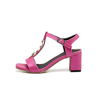 zhENfu Donna Sandali Comfort similpelle Estate Casual Rhinestone Chunky Heel arrossendo rosa fucsia bianco nero 2A-2 3/4in White