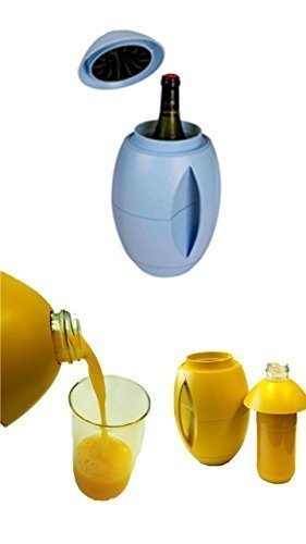 egg-o Weinkühler blau + 1 Literflasche zum befüllen von Milch,Säfte und weiteren Getränken immer alles cool am Platz