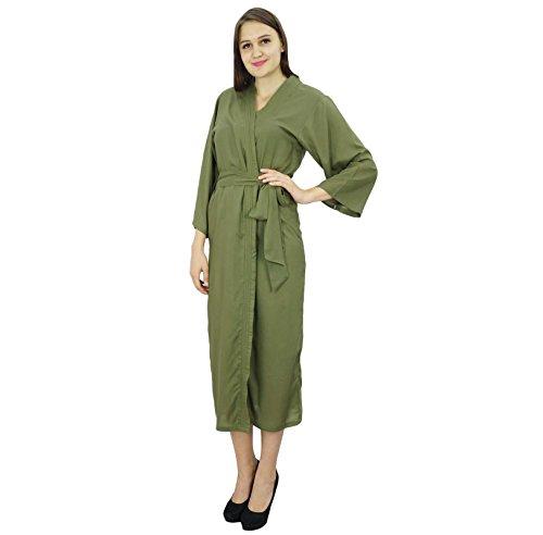 Bimba Femmes Long solide Ceinture Robe souple coton modal Wrap ronde ordinaire Peignoir Vert foncé