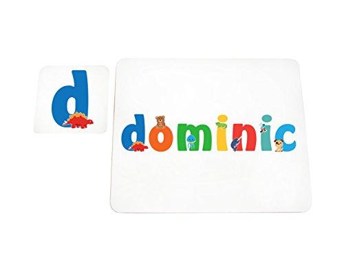 Little Helper lhv-dominic-coasterandplacemat-15it Untersetzer und Platzsets mit Poliert, Individuelle Jungen Namen Dominic, mehrfarbig, 21x 30x 2cm