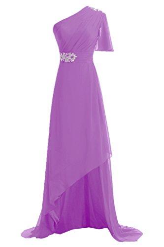 Sunvary 2013 Fruehling A-Linie Modern Abendkleider Ein-Schulter Lang  Chiffon Promkleider Lila