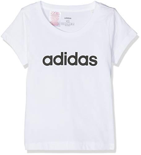 adidas Mädchen YG E LIN Tee T-Shirt, White/Black, 13-14Y -
