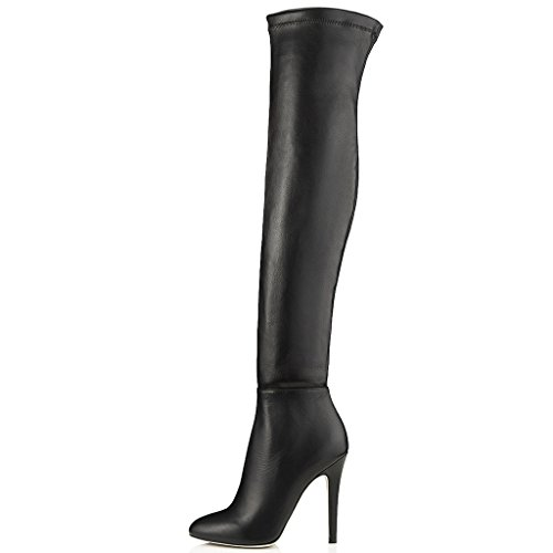 Jushee Women's Mriyt Black Side Zipper Over The Knee Riding Boots High Heel Pointed Toe Boots 12 M UK (Knee Boots Round Toe High)
