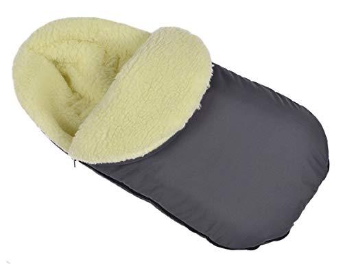 Chancelière universelle pour poussette d'hiver pour coque bébé sac de couchage footmuff Laine graphite Grande taille 105 cm avec capuche [071]