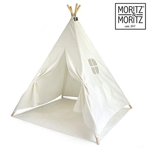 Moritz & Moritz Tipi Zelt für Kinder - weiß einfarbig - Kinderzelt Spielzelt Geschenkidee - Mit Bodendecke und Fenster - Für Haus und Garten