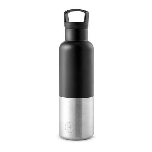 HYDY Vakuum Isoliert Thermo Wasser Flasche-BPA-Frei Edelstahl-doppelwandig SS-Halt Ice Länger-Hält Getränke Heiß-rostfrei-Modern Fläschchen in 2Größen & 20+ Farben, Black- 20 oz, 20 oz -