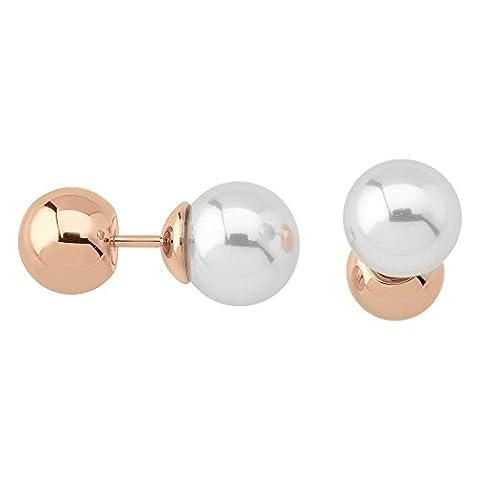 Majorica Damen 8mm Rund weiß Perlen Post auf Stahl roséplattierter Ohrringe