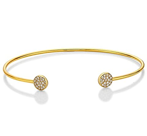 Diamond Treats Sparkle Yellow Gold Bangle, 18K Yellow Gold Plated 925 STERLING SILVER set with AAA Grade White Cubic Zirconia. Adjustable Size Stackable Silver Bangle. The Perfect Gift for