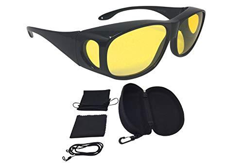 FALINGO Nachtsichtbrille Nachtfahrbrille Nachtsichtüberbrille NIGHT EDITION Autofahrbrille Anti-Blend-Brille UV 380 (Schwarz)