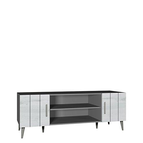 Bello Tv-tisch (TV Tisch Bello B10, TV Schrank im skandinavischen Stil, Fernsehtisch, Lowboard, Fernsehschrank, TV Bank, TV Möbel (Grafit / Weiß Craft))
