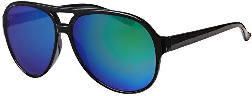 La Optica UV 400 Herren Retro Sonnenbrille Pilotenbrille Fliegerbrille - Einzelpack Glänzend Schwarz (Gläser: Grün verspiegelt)