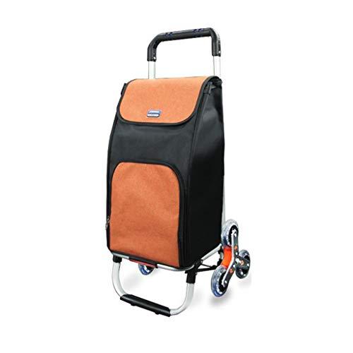 TD Lega di Alluminio Carrello della Spesa Carrello A Mano Anziana Piccolo Carrello Carrello Porta Valigie (Colore : Arancia)