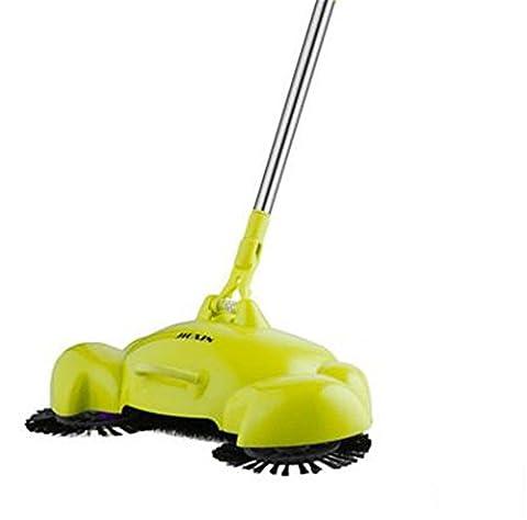 Cuzit Chambre d'enfant Helper 360rotatif Sweeper sans électricité domestique à la main Push Balai, Pelle et poubelle 3en 1Nettoyant pour sol sans Cloth-green