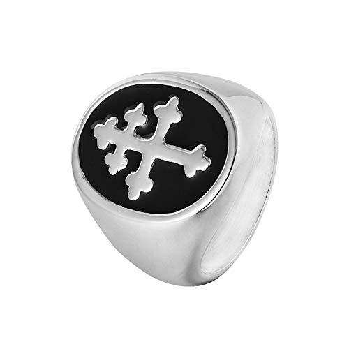 Beglie Ringe für Herren Bandring Herren Edelstahl Ringe Herren Kreuz Verlobungsring Biker Ring Retro Siegelring Biker Ringe Gravur Silber 70 (22.3)