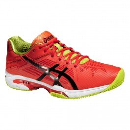Asics Scarpe Gel-Solution Speed 3, Orange/Black/Lime (EU 42 UK 7.5 USA 8.5)