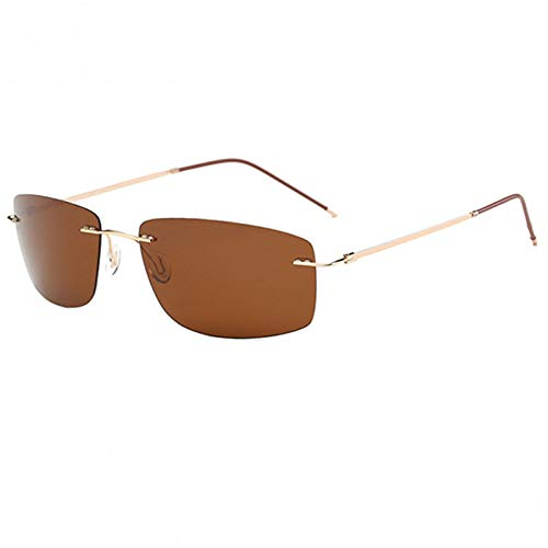 FHXTWB Polarisierte Sonnenbrille männer Fahrer nachtsicht Sonnenbrille für männliche Sicherheit Fahren reines Titanium ultraleichte randlose oculos