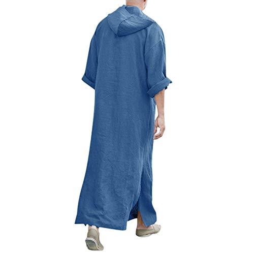 zarupeng✦‿✦ Mens étnico suelta manga larga bolsillo de algodón y lino vestido vintage con capucha musulmán Kaftan túnica