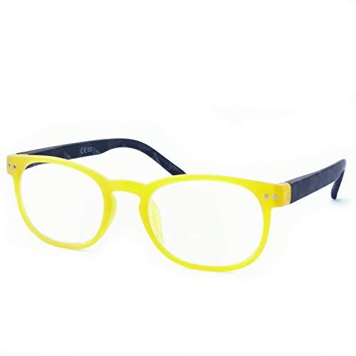 Marc Andrews Bunte Lesebrille Lesehilfe mit Federscharnier drei Farben wählbar farbig modisch Frühlingsbrille (2.5, gelb)