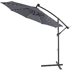 Kingsleeve | Parasol déporté en Aluminium • Ø3m • Haiti • éclairage 32 LED • Lampe Solaire • Anthracite | Protection, manivelle, Jardin, terrasse, Balcon, Soleil