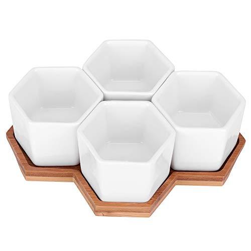 Garosa 4Pcs Blumentopf Keramisch Hexagon Sukkulenten Pflanzgefäß mit Bambus Tablett für Haus Büro Shop Schreibtisch