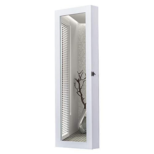 Homcom armadio portagioielli da parete con specchio in legno mdf, bianco, 37x9.5x112cm