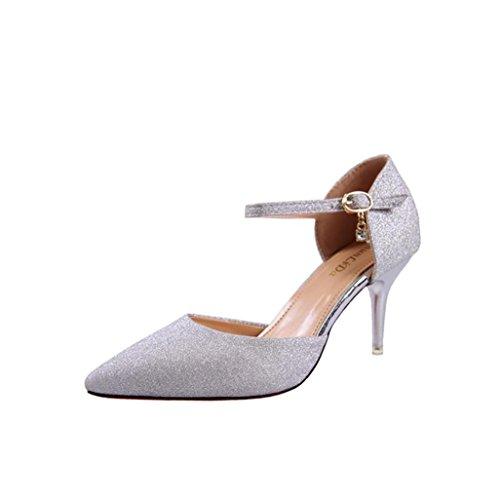 Uomogo® sandali estivi da donna sandali con tacchi alti da sera da donna scarpe da donna con punta a punta 8 cm (asia 36, argento)