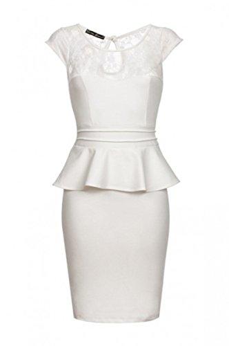 Laeticia Dreams Damen Abendkleid Spitze XS S M L XL, Farbe:Weiss;Größe:42