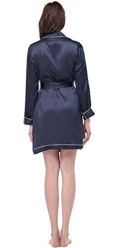LILYSILK Robe de Chambre Femme en Soie Naturelle Col Tailleur Contrasté 22 Momme Bleu Marine