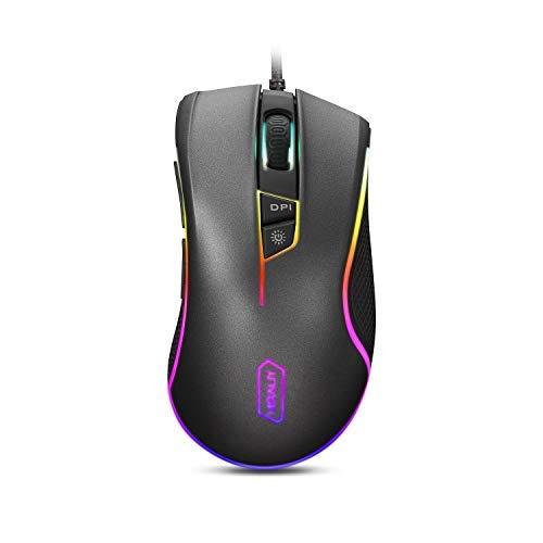 HIRALIY F300 Gaming-Maus kabelgebunden 10.000 DPI verstellbar mit 16,8 Millionen Chroma RGB Farbe 12 Hintergrundbeleuchtungs-Modi, 7 programmierbare Tasten PMW3325 optischer Gaming-Sensor - 6000 Maus Microsoft