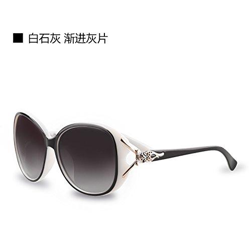 Komny Sonnenbrille weiblichen Polarisierte Sonnenbrillen runde Gesicht Frauen Tide Star mit Retro Sonnenbrille Brille weißem Kalk und schrittweise Asche