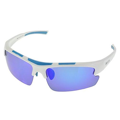 DUCO polarisiert Designer Mode Sport-Sonnenbrille für Sport Fahrrad Angeln Golf TR90 super leichter Rahmen 6200 (Weiß Rahmen Revo Blau Linse)