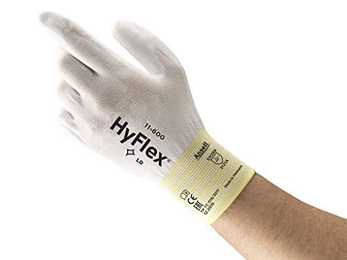 Ansell HyFlex 11-600 Gants pour usages multiples, protection mécanique, Blanc, Taille 9 (Sachet de 12 paires)